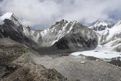 Everest Base Camp (5350m), scattering of tents at back of Khumbu glacier, Khumbu, Nepal, Himalayas by Alex Treadway