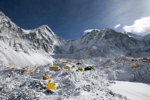 Everest Base Camp on the Khumbu Glacier in Nepal after a Fall of Snow by Alex Treadway