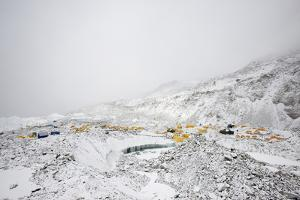 Everest Base Camp on the Khumbu Glacier in Nepal after a Snow Fall by Alex Treadway