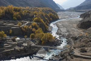 Hushe village beside a meandering river, Gilgit-Baltistan, northern Pakistan, Asia by Alex Treadway