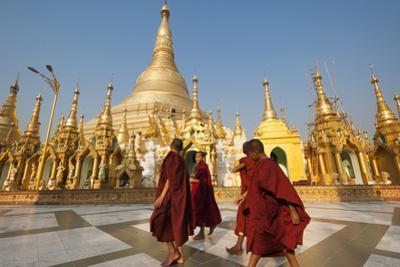 Monks walk around Shwedagon Pagoda, Yangon (Rangoon), Myanmar (Burma), Asia by Alex Treadway