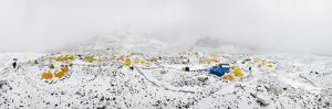 Panorama of Everest Base Camp on the Khumbu Glacier in Nepal after a Fall of Snow by Alex Treadway