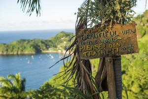 Sign asking not to trash most beautiful view in world, Castara Bay, Tobago, Trinidad and Tobago by Alex Treadway