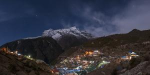 Spectacular Namche Bazaar Lit Up at Night, in the Everest Region, Himalayas, Nepal, Asia by Alex Treadway