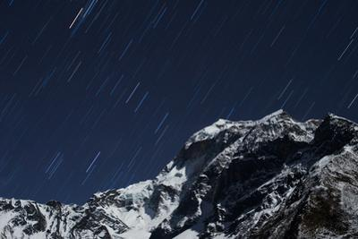 Star trails in the Manaslu region, Nepal, Himalayas, Asia by Alex Treadway
