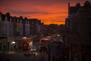 Stroud Green, a District in North London, Stirs to Life under a Dark Orange Sunrise Sky by Alex Treadway