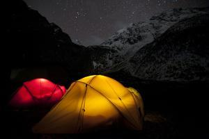 Tents Glow in the Tsum Valley Which Is in the Manaslu Region of Nepal by Alex Treadway