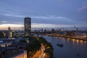 Tilt Shift Lens Effect Image of the River Thames from the Top of Riverwalk House, London, England by Alex Treadway