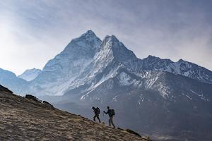 Trekkers Climb a Small Peak Above Dingboche in the Everest Region in Time to See the Sunrise by Alex Treadway