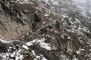 Trekkers Make their Way Along an Alternative Route Via Photse to Everest Base Camp, Himalayas by Alex Treadway