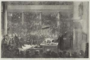 Professor Faraday Lecturing at the Royal Institution by Alexander Blaikley