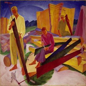 Two Carpenters, 1927 by Alexander Bogomasov