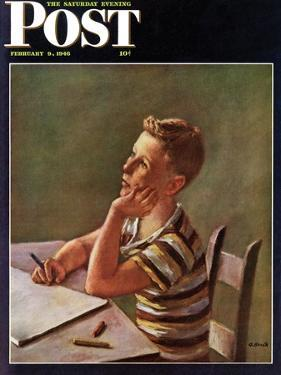 """""""Future Author,"""" Saturday Evening Post Cover, February 9, 1946 by Alexander Brook"""