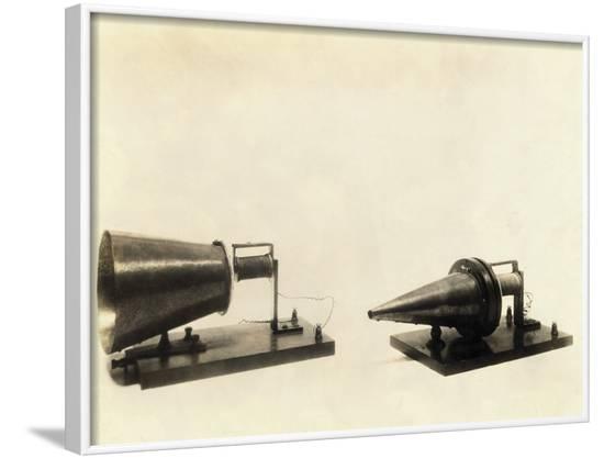Alexander Graham Bell's Telephone Transmitter and Receiver--Framed Photographic Print