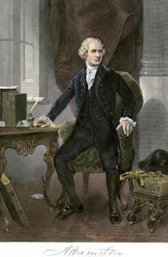 Alexander Hamilton at His Desk, Full Portrait, with Autograph