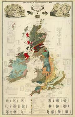 Composite: Geological and Palaeontological Map of the British Islands, c.1854 by Alexander Keith Johnston