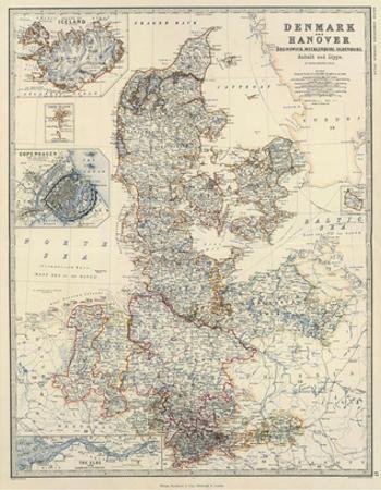 Denmark, Hanover, Brunswick, Mecklenburg, Oldenburg, c.1861 by Alexander Keith Johnston