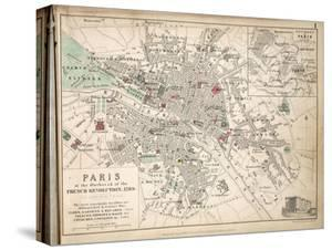 Map of Paris at the Outbreak of the French Revolution, 1789, Published by William Blackwood and? by Alexander Keith Johnston