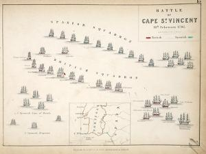 Map of the Battle of Cape St. Vincent, Published by William Blackwood and Sons, Edinburgh and… by Alexander Keith Johnston