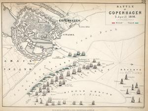 Map of the Battle of Copenhagen, Published by William Blackwood and Sons, Edinburgh and London,… by Alexander Keith Johnston