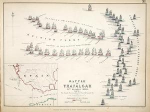 Map of the Battle of Trafalgar, Published by William Blackwood and Sons, Edinburgh and London, 1848 by Alexander Keith Johnston