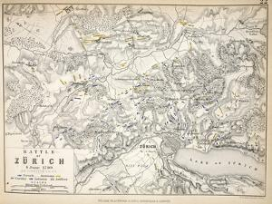 Map of the Battle of Zurich, Published by William Blackwood and Sons, Edinburgh and London, 1848 by Alexander Keith Johnston