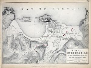 Map of the Siege of St Sebastian, Published by William Blackwood and Sons, Edinburgh and London,… by Alexander Keith Johnston