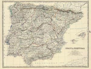 Spain, Portugal, c.1861 by Alexander Keith Johnston