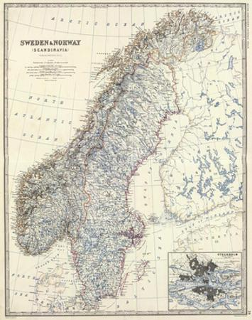 Sweden, Norway, c.1861 by Alexander Keith Johnston