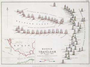 The Battle of Trafalgar, 21st October 1805, the British Breaking the French and Spanish Line by Alexander Keith Johnston