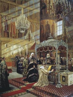 Tsar Alexis and Patriarch Nikon at the Coffin of Metropolitan Philip of Moscow, 17th Century by Alexander Litovchenko