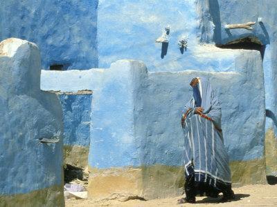 Traditional Blue Woven, Brocade Shawl of Siwa, Egypt