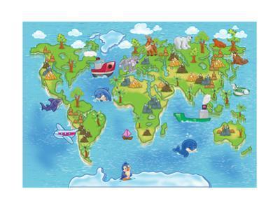 Kids World Map by Alexander Pleshko