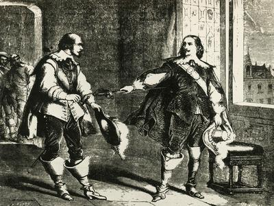 Athos Handing Sword to Comminges, Illustration for Chapter LXXXIII of Twenty Years After