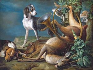 Still Life of Dead Game with Hounds, 1730 by Alexandre-Francois Desportes