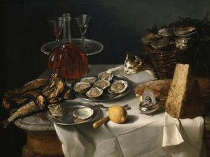 Still Life with Cat by Alexandre-Francois Desportes