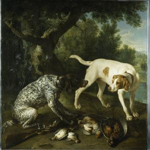 Two Pointers Belonging to the 3rd Earl of Burlington with Dead Game in a Landscape, 1713 by Alexandre-Francois Desportes