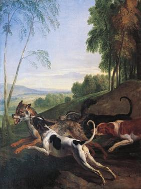 Wolf Hunting, Painting by Alexandre-Francois Desportes (1661-1743), France, 17th Century by Alexandre-Francois Desportes