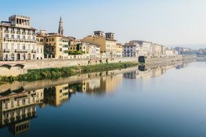 Reflection of buildings on River Arno, Florence, Tuscany, Italy, Europe by Alexandre Rotenberg