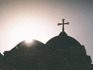 Silhouette of a church and cross, Jerusalem, Israel, Middle East by Alexandre Rotenberg
