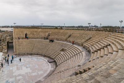 The ancient Roman amphitheatre in Caesarea, Israel, Middle East