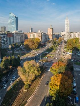 The main boulevard in central Milan leading to Milan's Central station, Milan, Lombardy, Italy, Eur by Alexandre Rotenberg
