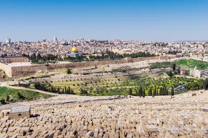 View of Jerusalem and the Dome of the Rock from the Mount of Olives, Jerusalem, Israel, Middle East by Alexandre Rotenberg
