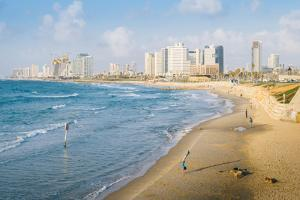 View of Neve Tzedek district skyline and Mediterranean in the evening, Tel Aviv, Israel, Middle Eas by Alexandre Rotenberg