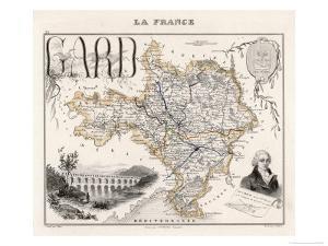 Map of Gard France by Alexandre Vuillemin