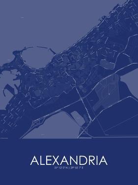 Alexandria, Egypt Blue Map