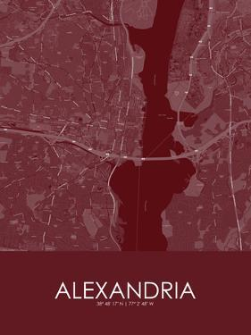 Alexandria, United States of America Red Map