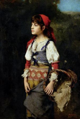 A Pretty Peasant Girl by Alexei Alexevich Harlamoff