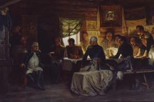The Military Council in the Village of Fili Near Moscow on September 13th, 1812, 1882 by Alexei Danilovich Kivshenko