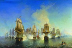 The Naval Battle of Athos by Alexei Petrovich Bogolyubov